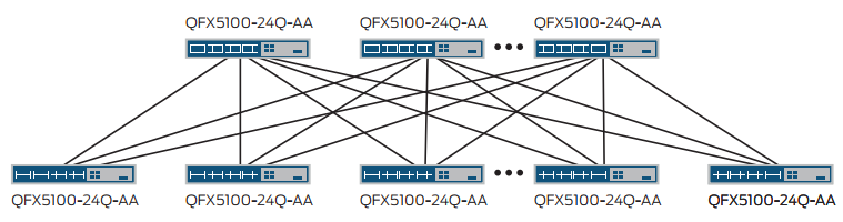 Figure 3: IP Layer 3 fabric using QFX5100-24Q-AA switches as spine and leafs.