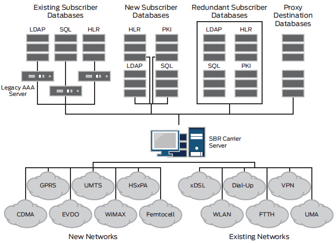 SBR Carrier's ability to support multiple network access technologies and RADIUS proxy support